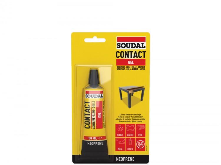 Soudal 46A, контактный клей в форме геля, желтый полупрозрачный, тюбик 50 мл