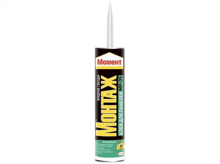 Момент Монтаж МР-35, каучуковый монтажный клей для панелей, светло-бежевый, туба 390 г