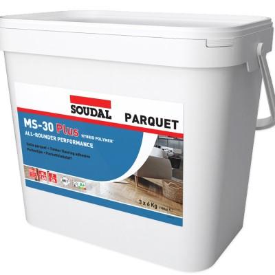 Soudal MS-30Plus, мс-полимерный клей для паркета, ведро 18 кг