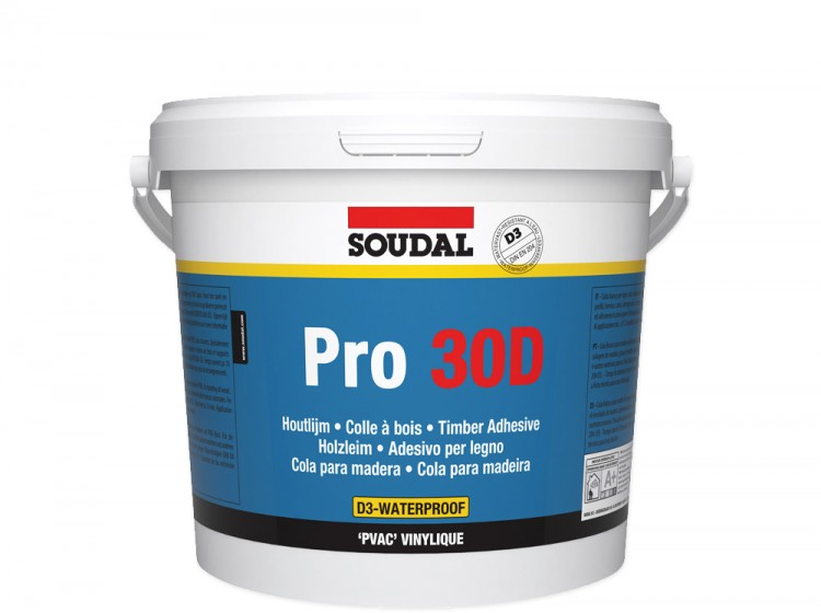 Soudal Pro 30D, влагостойкий клей для древесины, банка 5 кг