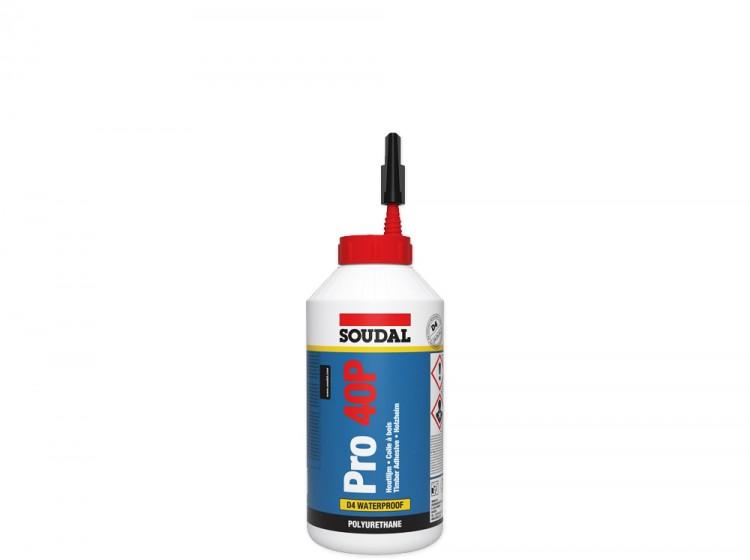 Soudal Pro 40P, полиуретановый клей для дерева, флакон 750 г
