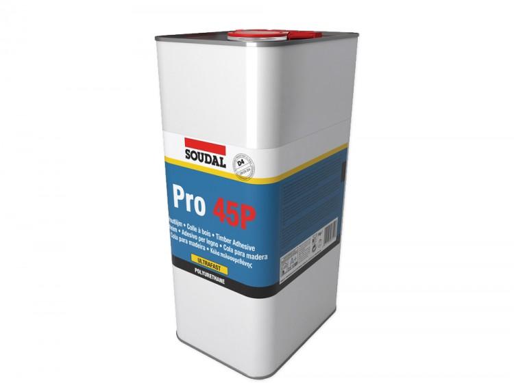 Soudal Pro 45P, влагостойкий полиуретановый клей для дерева, банка 5 кг