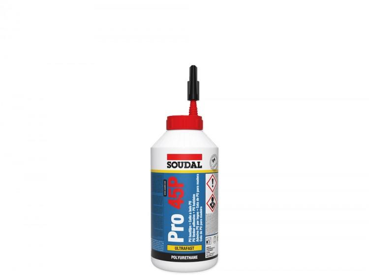 Soudal Pro 45P, влагостойкий полиуретановый клей для дерева, флакон 750 г