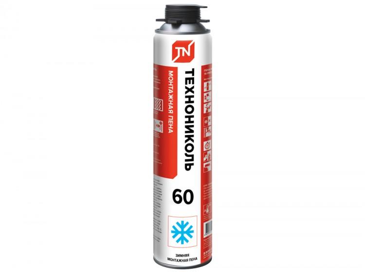 ТехноНИКОЛЬ 60 Standard, зимняя профессиональная монтажная пена, баллон 1000 мл