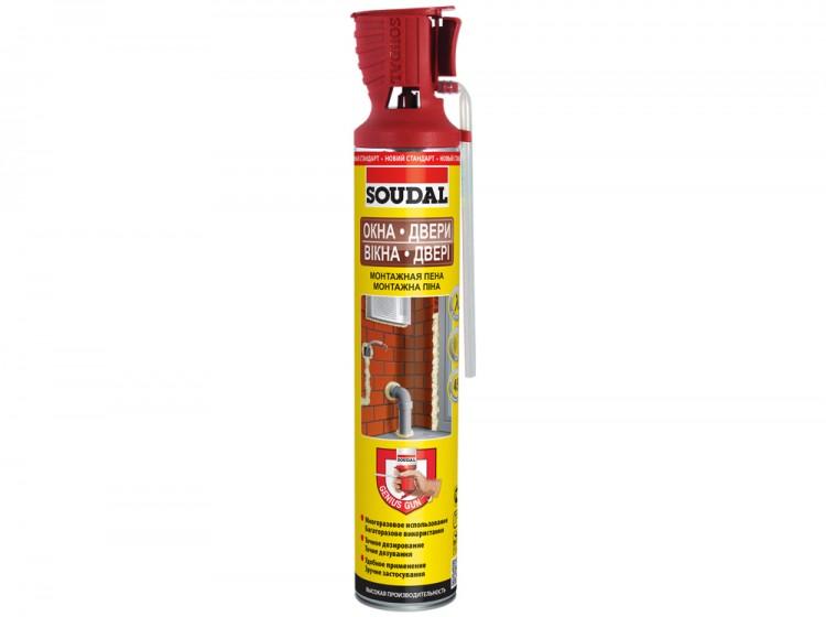 Genius Gun Soudal, летняя многоразовая бытовая монтажная пена, баллон 750/1000 мл