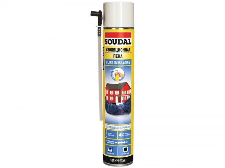 Изоляционная трубочная Soudal, летняя бытовая монтажная пена, баллон 750/1000 мл