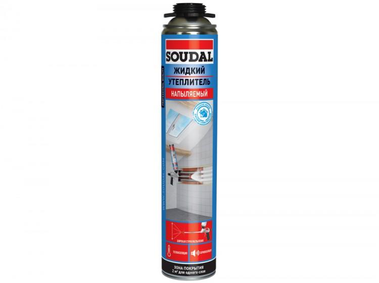 Напыляемый жидкий утеплитель Soudal, полиуретановый состав для теплоизоляции, баллон 850/1000 мл