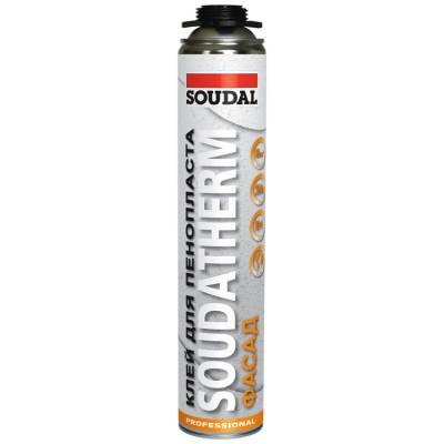 Soudatherm, профессиональная полиуретановая клей-пена Soudal для пенопласта, баллон 750/1000 мл