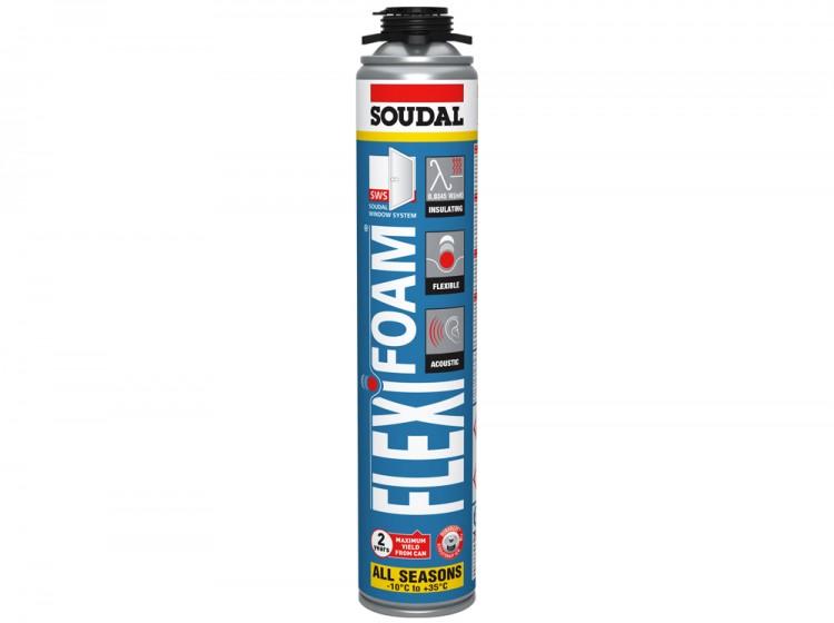Flexifoam, всесезонная эластичная акустическая профессиональная монтажная пена, баллон 750/1000 мл