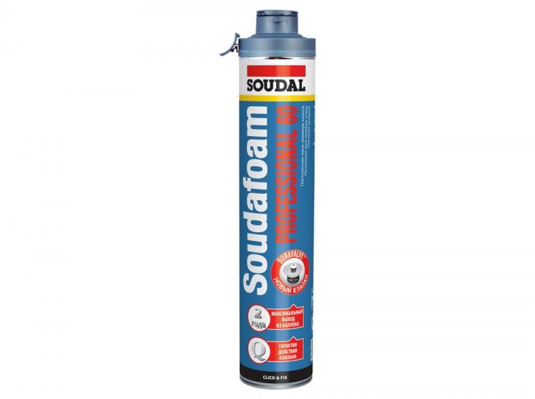 Soudafoam Professional 60 Click&Fix, летняя профессиональная монтажная пена, баллон 750/1000 мл
