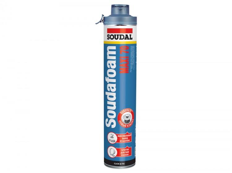 Soudafoam Maxi 70 Click&Fix, летняя профессиональная монтажная пена, баллон 870/1000 мл