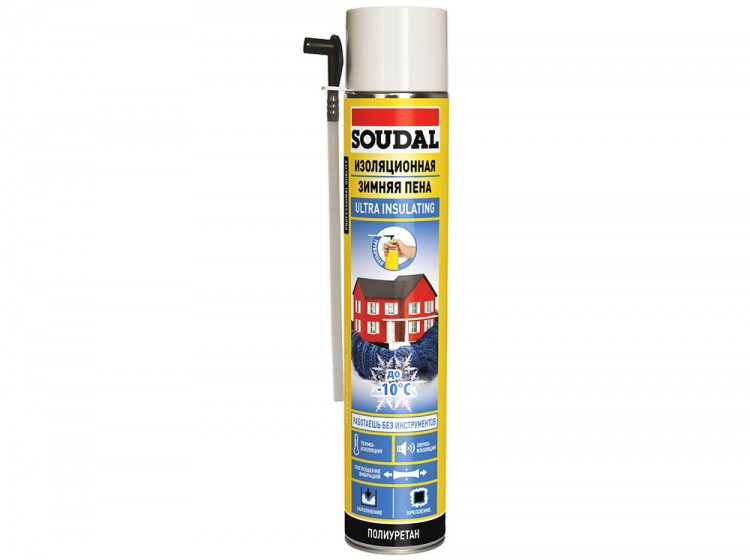 Изоляционная трубочная Soudal, зимняя бытовая монтажная пена, баллон 750/1000 мл