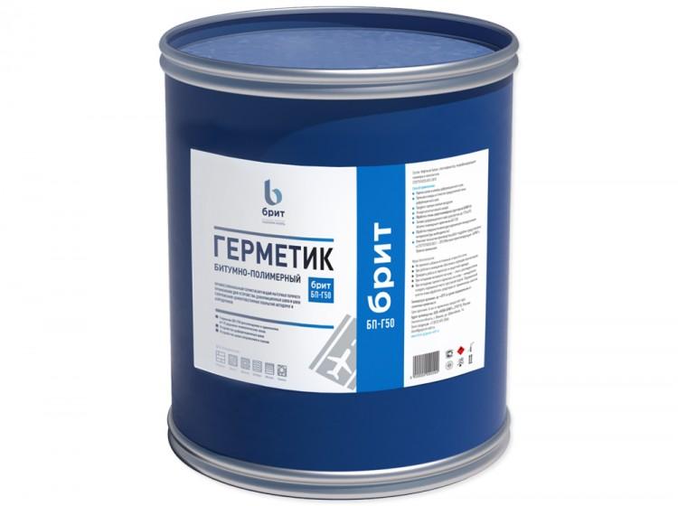 Битумно-полимерный герметик Брит БП-Г50, барабан 24 кг