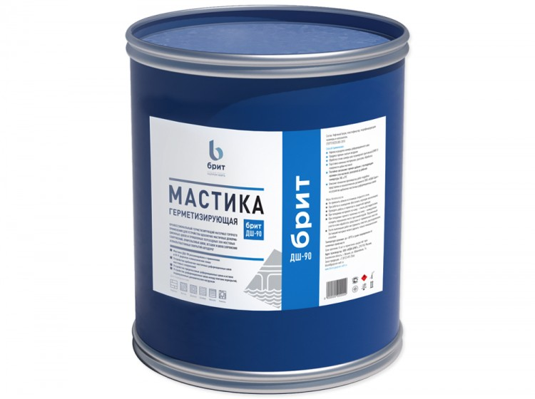 Герметизирующая битумно-полимерная мастика Брит ДШ-90, барабан 24 кг