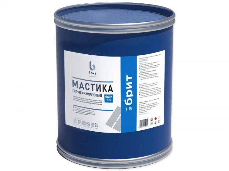 Герметизирующая резинобитумная мастика Брит Т-75, барабан 24 кг