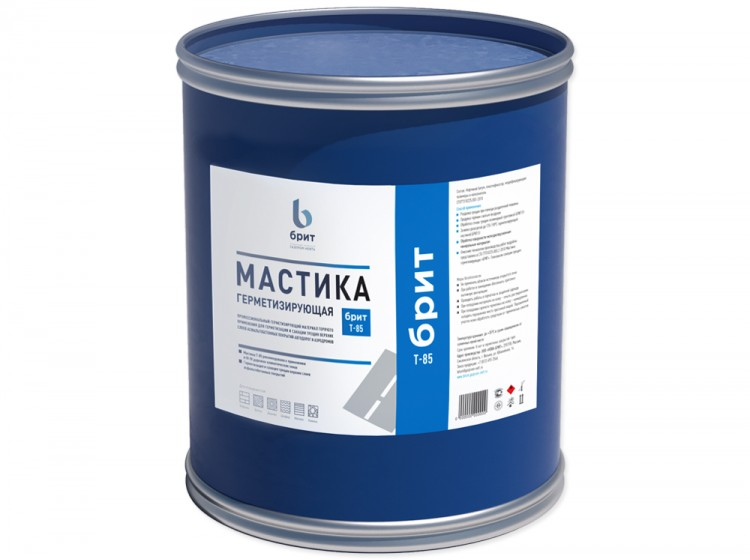Герметизирующая резинобитумная мастика Брит Т-85, барабан 24 кг