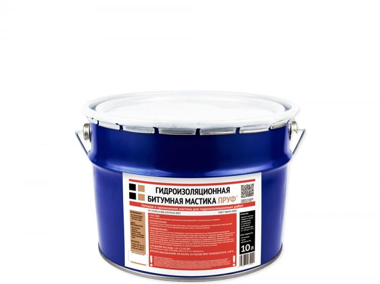 Битумная гидроизоляционная мастика Пруф, ведро 10 л