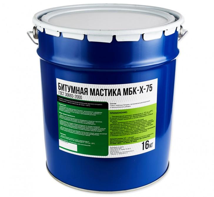 Битумная кровельная холодная мастика МБК-Х-75, ведро 16 кг