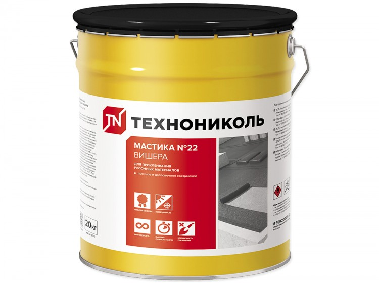 Битумно-полимерная мастика ТехноНИКОЛЬ Вишера №22, ведро 20 кг