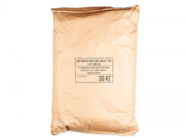 Битумная кровельная горячая мастика МБК-Г-65, мешок 30 кг