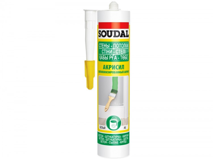 Акриловый силиконизированный герметик Soudal Акрисил Стены Потолки, белый, туба 280 мл