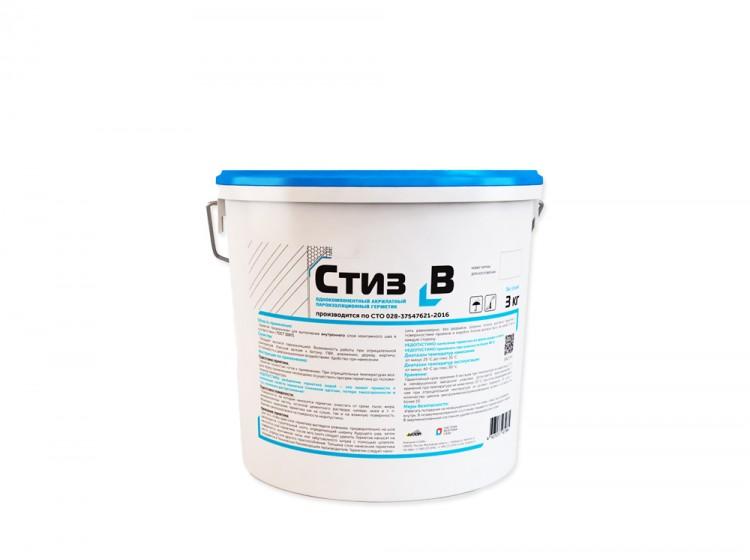 Стиз В, пароизоляционный акриловый герметик для внутренних слоев монтажных швов, светло-серый, ведро 3 кг