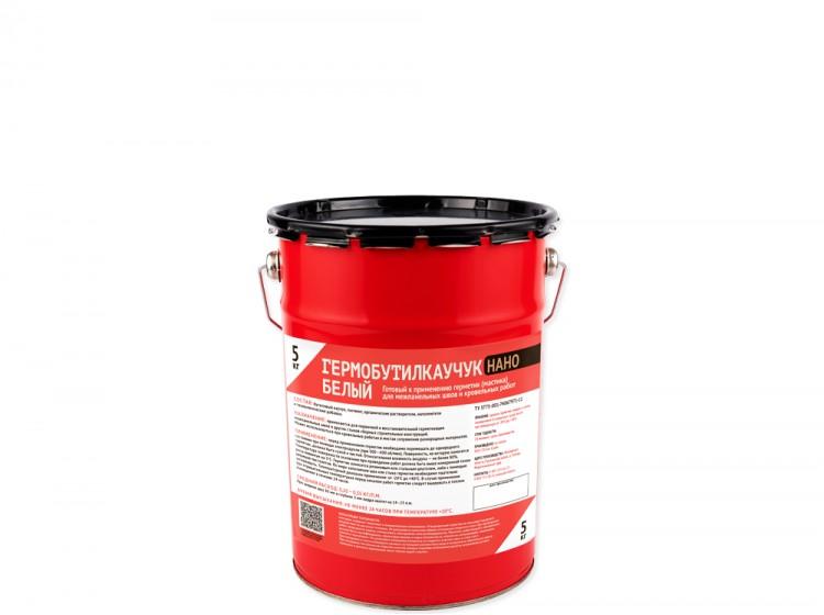 Гермобутилкаучук НАНО, бутилкаучуковый герметик для межпанельных швов, белый, банка 5 кг