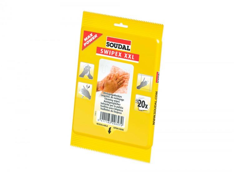 Swipex, очищающие салфетки для незастывших герметиков, клеев и пен, пакет 20 шт