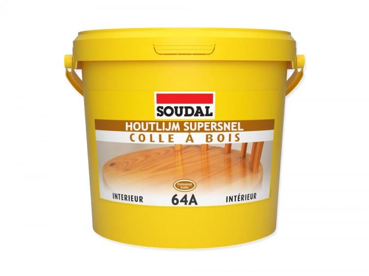 Soudal 64A, быстросохнущий клей для дерева на основе ПВА дисперсии, белый, банка 5 кг