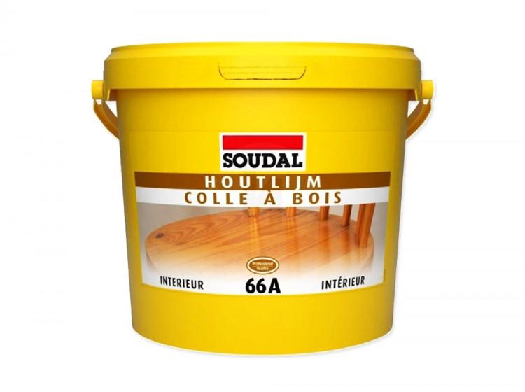Soudal 66A, полиуретановый водостойкий клей для дерева, желтый, банка 5 кг