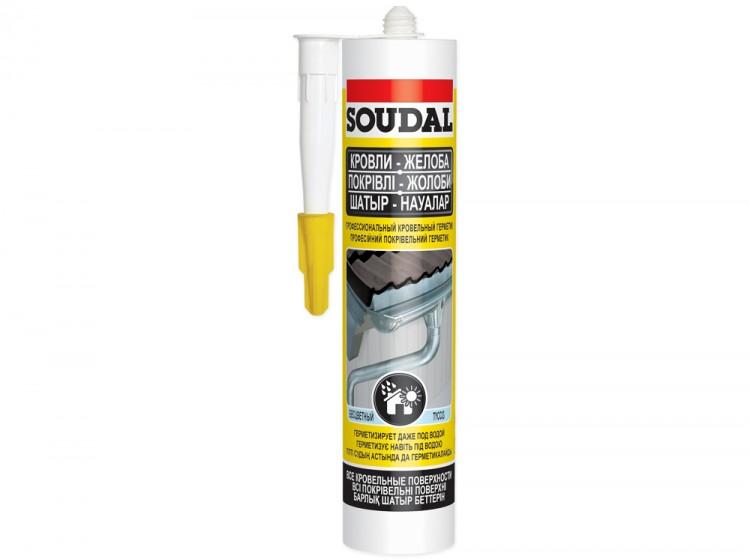 Aquafix, профессиональный кровельный герметик Soudal Кровли Желоба, бесцветный, туба 280 мл