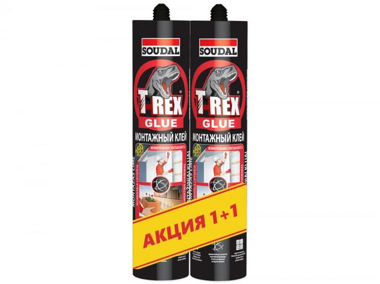 T-REX Red Моментальная схватываемость, монтажный клей с волокном, белый, комплект 2 шт по 380 г