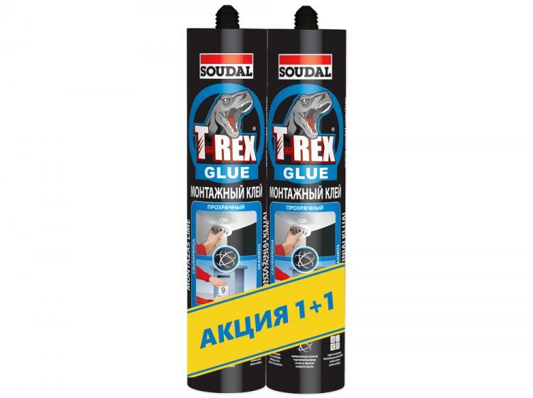 T-REX Blue Прозрачный, монтажный клей с волокном, бесцветный, комплект 2 шт по 310 г