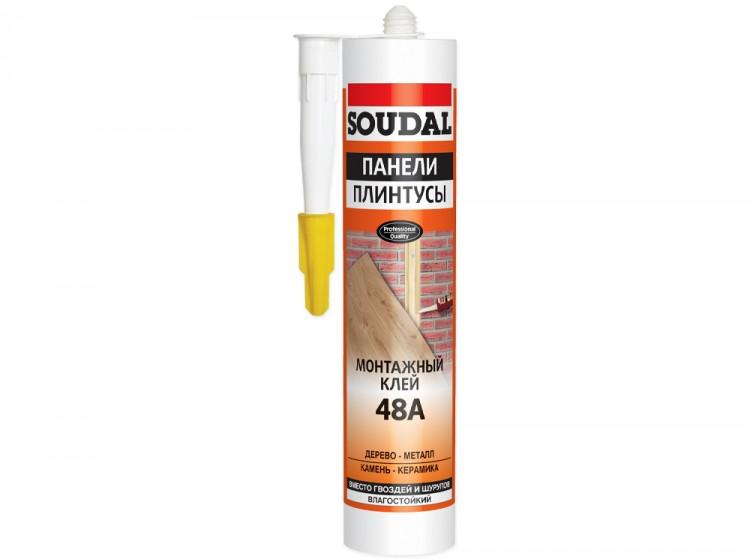 Soudal 48A Панели Плинтусы, каучуковый монтажный клей для панелей и плинтусов, бежевый, туба 280 мл