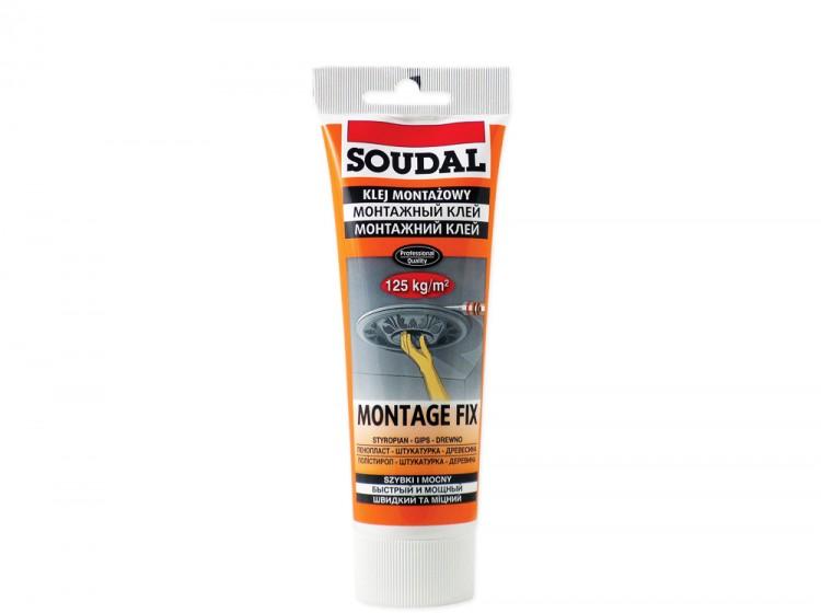 Soudal 50A Montage Fix Лепнина Карнизы Плинтусы, акриловый монтажный конструкционный клей, белый, тюбик 250 г