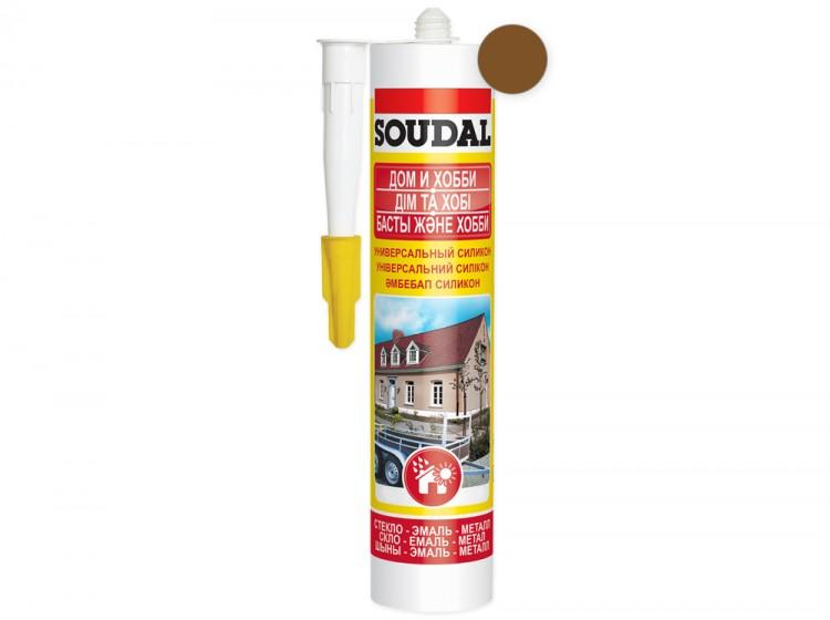 Универсальный силиконовый герметик Soudal Дом и Хобби, коричневый, туба 280 мл