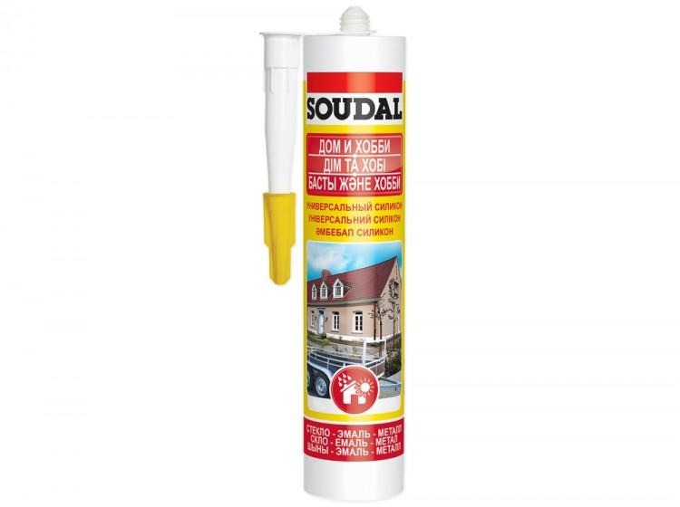 Универсальный силиконовый герметик Soudal Дом и Хобби, серый, туба 280 мл